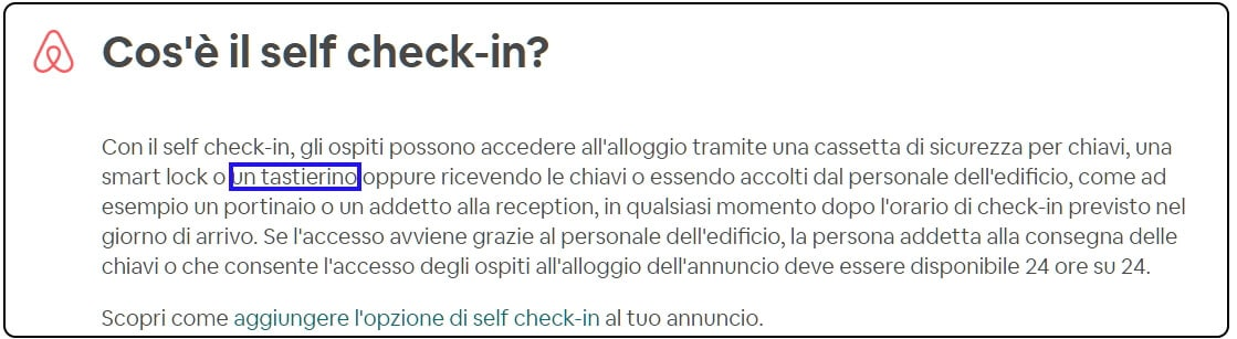 self check-in airbnb con tastiera apertura porta