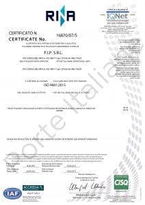 Certificazione ISO 9001 ditta FIP SRL