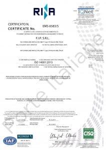 Certificazione ISO 14001 della ditta FIP SRL